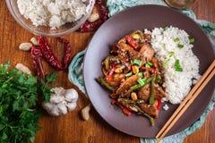 Kung Pao鸡用胡椒和菜 库存图片