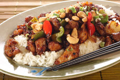 Kung pao chicken. On rice Royalty Free Stock Image