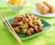 Kung pao chicken on green plate. Kung pao chicken on green plate with egg rolls and fried rice in ground Stock Photography