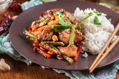 Kung Pao chicken with peppers and vegetables. Served with rice. Traditional sichuan dish Stock Photos