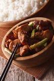 Kung Pao Huhn in einem Schüsselabschluß hoch und im Reis vertikal Lizenzfreie Stockbilder