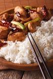 Kung Pao Huhn und Reis auf einem Plattenmakro vertikal Lizenzfreie Stockbilder