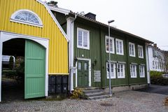 Beautiful old wooden houses in the town of Kungalv, Sweden. royalty free stock image