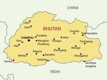 Kungarike av Bhutan - vektoröversikt stock illustrationer