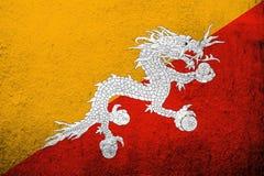 Kungarike av den Bhutan nationsflaggan med Druk Kan användas som en vykort royaltyfri illustrationer