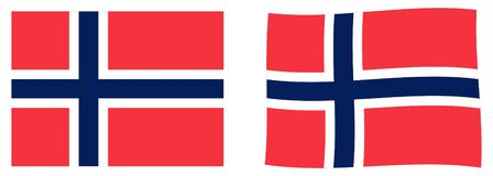 Kungarike av den Norge flaggan Enkel och vinkande litet version royaltyfri illustrationer