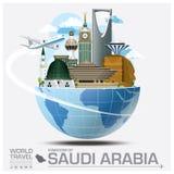 Kungarike av det globala loppet och resan Infog för Saudiarabien gränsmärke vektor illustrationer