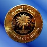 Kungarike av det guld- myntet för Bahrain palmträd royaltyfri illustrationer