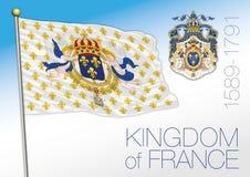 Kungarike av Frankrike, historisk flagga, 1589 - 1791 stock illustrationer