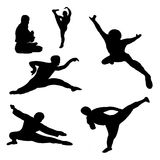 Kungfu. Chinese kungfu fighters in silhouette Stock Image