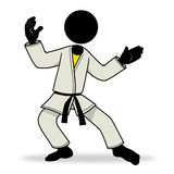 Kungfu icon. Cartoon sport action icon of a kungfu fighter Royalty Free Stock Photo