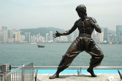 Kungfu sculpture - Hongkong. Hongkong - Avenue of Stars with sculpture showing kung-fu fighter Royalty Free Stock Photo