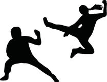 Kungfu silhouette. Silhouette of kungfu fighters combat Royalty Free Stock Images