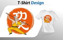 Kungfumeester op Chinese de t-shirtdruk van de kungfuhiëroglief Spot op het malplaatje van het t-shirtontwerp Vector geïsoleerd m Stock Fotografie