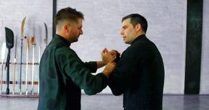 Kungfuvechters die vechtsporten 4k uitoefenen stock video