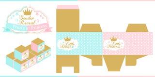 Kunglig baby shower Genuset avslöjer partiet Prins eller prinsessa Blått, rosa färger och den guld- favören boxas mallen Royaltyfri Foto