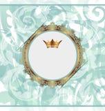 Kunglig bakgrund med den guld- ramen och kronan royaltyfri illustrationer