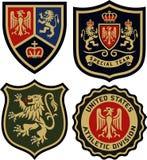 Kunglig emblememblemsköld Arkivbilder