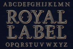 Kunglig etikettstilsort Isolerat engelskt alfabet stock illustrationer