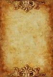 Kunglig guld- bakgrund för tappning med blom- prydnader Arkivfoton
