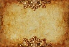 Kunglig guld- horisontalbakgrund för tappning med blom- prydnader arkivbilder
