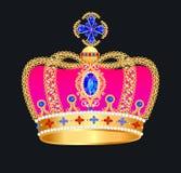 Kunglig guld- krona med juvlar stock illustrationer