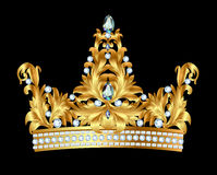 Kunglig guld- krona med juvlar Arkivbilder