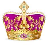kunglig guld- krona med juvlar och prydnaden royaltyfri illustrationer