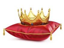 Kunglig guld- krona på den röda kudden på vit vektor illustrationer