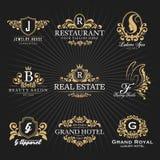 Kunglig heraldisk monogram och ram Logo Decorative Design för tappning stock illustrationer
