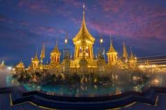 Kunglig kremeringutställning, Sanam Luang, Bangkok, Thailand på November19,2017: Kunglig krematorium för den kungliga kremeringen royaltyfri bild