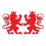 Kunglig Lion Heraldry Heraldic Logo Mascot vektor vektor illustrationer