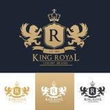 Kunglig logomall för konung Arkivbild