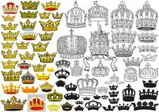 Kunglig medeltida heraldisk kronauppsättning stock illustrationer