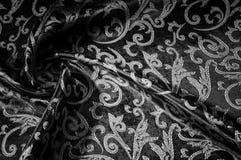 kunglig monogram för siden- torkduk svart white Guld och lyx är Arkivfoton