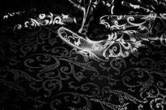 kunglig monogram för siden- torkduk svart white Guld och lyx är Arkivbilder