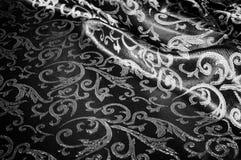 kunglig monogram för siden- torkduk svart white Guld och lyx är Arkivbild