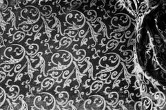 kunglig monogram för siden- torkduk svart white Guld och lyx är Royaltyfria Bilder