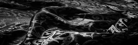 kunglig monogram för siden- torkduk svart white Guld och lyx är Royaltyfri Foto