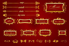 kunglig person för restaurang för caligraphic elementmeny röd Royaltyfri Fotografi