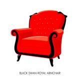 Kunglig personfåtölj för svart svan Royaltyfri Foto