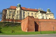 Kunglig slott för Wawel kulle, Krakow, Polen arkivbild