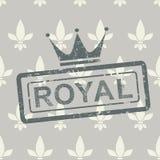Kunglig stämpel för Grunge på sömlös bakgrund Royaltyfri Bild