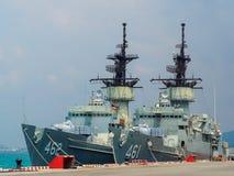 Kunglig thai skeppsdocka för fregatt för marinknoxgrupp i den sjö- grunden Thailand för sattahip Arkivbild