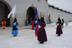 Kunglig vakt Changing Ceremony, Gyeongbokgung slott Royaltyfria Foton