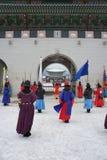 Kunglig vakt Changing Ceremony, Gyeongbokgung slott Arkivbild
