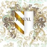 Kunglig vektordesignsköld och krusidullar royaltyfri illustrationer