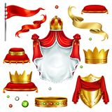 Kungliga attribut och realistisk vektoruppsättning för symboler royaltyfri illustrationer