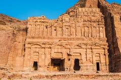 Kungliga gravvalv i nabatean stad av petra Jordanien Fotografering för Bildbyråer