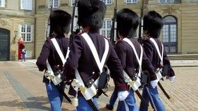 Kungliga livvakter framme av den Amalienborg slotten, Köpenhamn, Danmark lager videofilmer